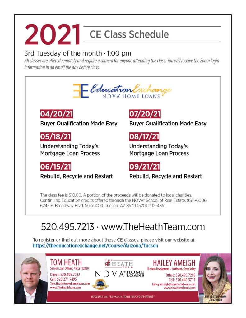2021 The Heath Team Continuing Education Class Schedule